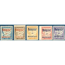 MADAGASCAR TAXE N°1 A 6 SURCHARGÉS, TIMBRES NEUFS* 1896