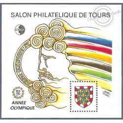 """BLOC CNEP N°_15 """"SALON PHILATELIQUE DE TOURS - SPECIAL JEUX OLYMPIQUES"""" LUXE"""