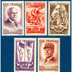 FRANCE N°576-580 SECOURS NATIONAL, TIMBRES NEUFS**, 1943