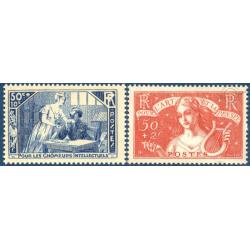 """FRANCE N°307 - 308 """"POUR L'ART ET LA PENSEE"""",1935 TIMBRES NEUFS**"""