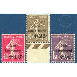 FRANCE N°266 A 268 CAISSE D'AMORTISSEMENT NEUFS** -- 1930