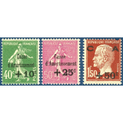 FRANCE N°253 A 255 CAISSE D'AMORTISSEMENT, TIMBRES NEUFS** 1929