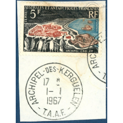 TAAF N°20 ARCHIPEL CROZET, TIMBRE POSTE DE 1963 OBLITERE 1ER JOUR SUR FRAGMENT
