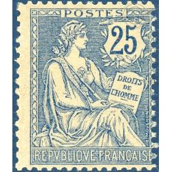FRANCE N°127 TYPE MOUCHON RETOUCHE 25C BLEU, TIMBRE NEUF** - 1902