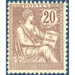 FRANCE N°126 TYPE MOUCHON RETOUCHE 20C BRUN-LILAS, TIMBRE NEUF ** - 1902