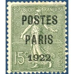 FRANCE PREOBLITERE N°31 TYPE SEMEUSE LIGNEE 15C VERT TIMBRE OBLITÉRÉ, SIGNÉ CALVES - 1922