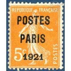 FRANCE PRÉOBLITÉRÉ N°27 TYPE SEMEUSE FOND PLEIN 5c ORANGE, SIGNÉ CALVES - 1921