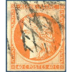 FRANCE N°5 TYPE CÉRÈS ORANGE VERMILLON, TIMBRE OBLITÉRÉ - 1850