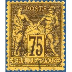 FRA?CE N°99 TYPE SAGE 75c. VIOLET SUR ORANGE, TIMBRE OBLITÉRÉ - 1890