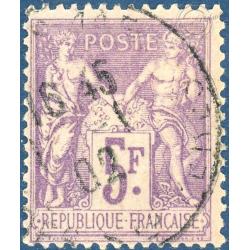 FRANCE N°95 TYPE SAGE 5F VIOLET SUR LILAS, TIMBRE OBLITÉRÉ - 1877