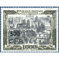 RÉUNION POSTE AÉRIENNE N°51, VUE STYLISÉE PARIS SURCHARGÉ, NEUF**, 1951
