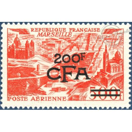 RÉUNION POSTE AÉRIENNE N°50, VUE STYLISÉE MARSEILLE SURCHARGÉ, NEUF** 1951