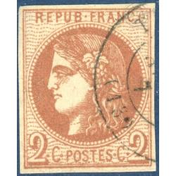 FRANCE N°_40B TYPE CÉRÈS 2C BRUN ROUGE, TIMBRE OBLITÉRÉ, 1870