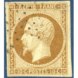FRANCE N_°9 TYPE NAPOLÉON 10C BISTRE JAUNE, TIMBRE OBLITÉRÉ SIGNE BRUN, 1852