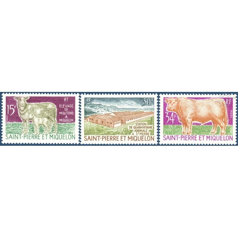 SAINT-PIERRE-ET-MIQUELON N°407 A 409, TIMBRES NEUFS AVEC CHARNIÈRE, 1970