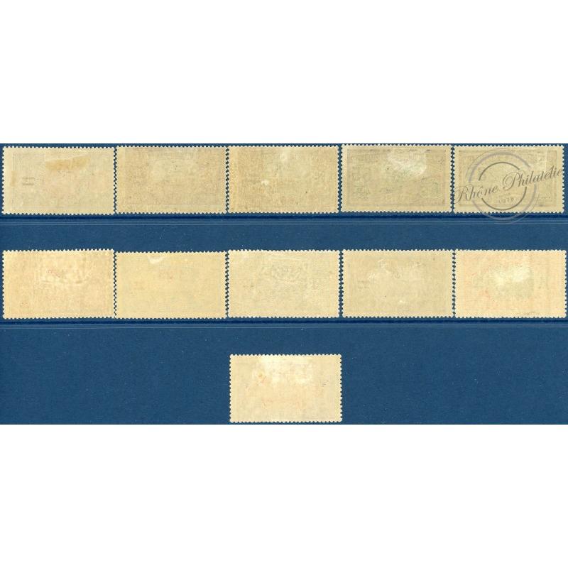 SAINT-PIERRE-ET-MIQUELON N°118 A 128, TIMBRES SURCHARGÉS, NEUFS AVEC CHARNIÈRE, 1924-27