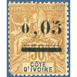 COTE D'IVOIRE N°18, TIMBRE NEUF AVEC CHARNIÈRE, 1904