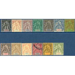 COTE D'IVOIRE N°1 A 13, TIMBRES NEUFS AVEC CHARNIÈRE ET OBLITÉRÉ, 1892-99