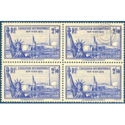 BLOC DE 4 N°458, EXPOSITION INTERNATIONALE NEW YORK TIMBRES NEUF**, 1940