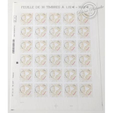 FEUILLE TIMBRES POSTE AUTOADHESIFS 940 COEURS 2014 DE BACCARAT