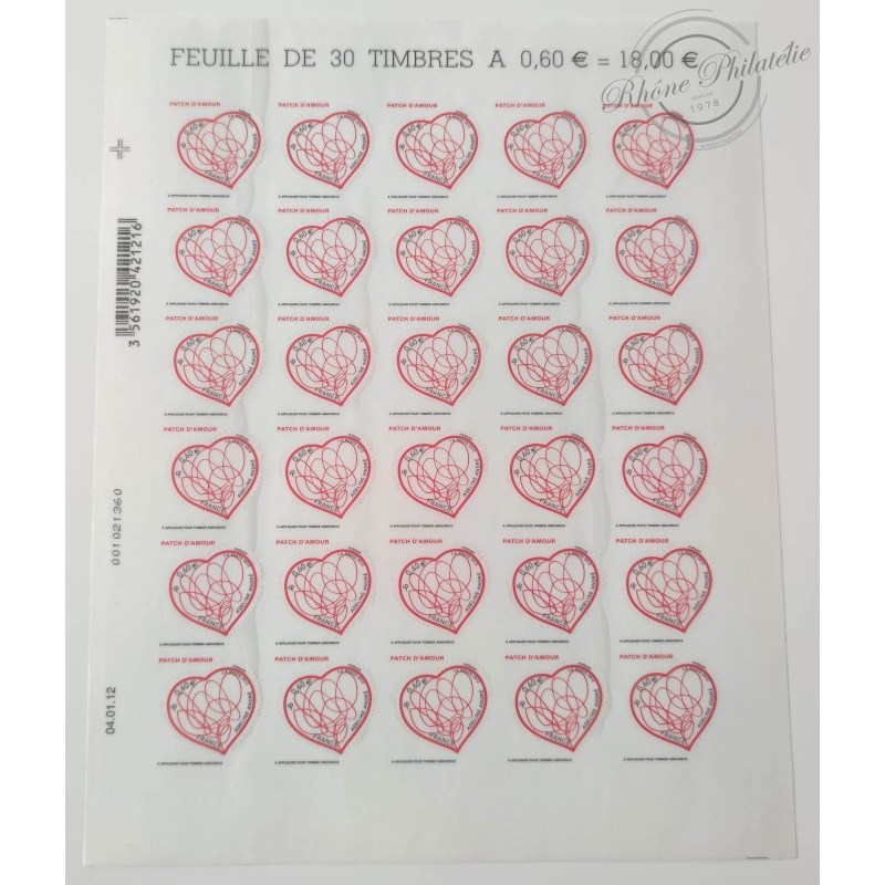 "FEUILLE ""COEURS PATCH D'AMOUR"", TIMBRES ST VALENTIN AUTOADHESIFS N°648"