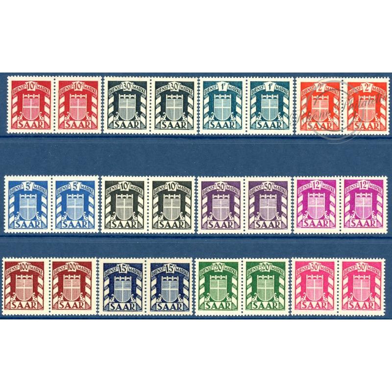 SARRE SERVICE N°27 A 38 EN PAIRE DE TIMBRES, NEUFS** -- 1949