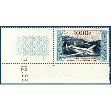 PA N°33 PROTOTYPE BREGUET, TIMBRE NEUF**, BORD DE FEUILLE DATÉ, 1954