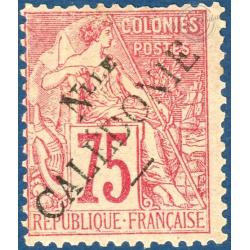 NOUVELLE-CALÉDONIE N°33, TIMBRE TYPE ALPHÉE DUBOIS 1881 SURCHARGÉ, NEUF*, 1892