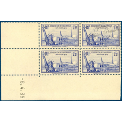 N°426 EXPOSITION NEW YORK, COIN DATE, 1939, TIMBRES NEUFS