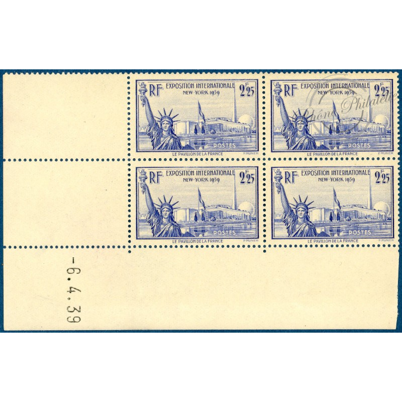 N°426 EXPOSITION NEW YORK, COIN DATE, 1939, TIMBRES NEUFS**