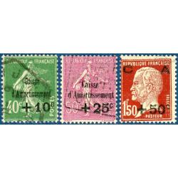 N°253 A 255 CAISSE D'AMORTISSEMENT, TIMBRES NEUFS ET OBLITÉRÉS 1929