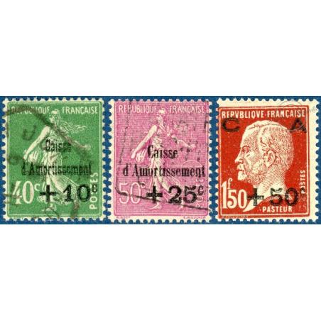 N°253 A 255 CAISSE D'AMORTISSEMENT, TIMBRES NEUFS** ET OBLITÉRÉS 1929