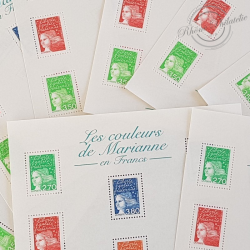 LOT DE 59 BLOCS N°42 LES COULEURS DE MARIANNE 5€, FACIALE 295€