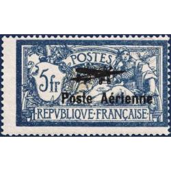 PA N°2 TIMBRE MERSON 5f BLEU SURCHARGÉ POSTE AÉRIENNE, NEUF SANS CHARNIÈRE, 1927