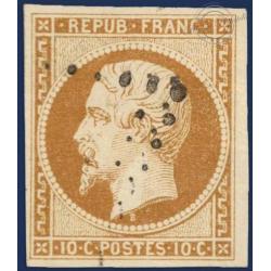 FRANCE N°9 TYPE NAPOLÉON 10C BISTRE JAUNE, TIMBRE OBLITÉRÉ SIGNÉ BRUN, émission 1852