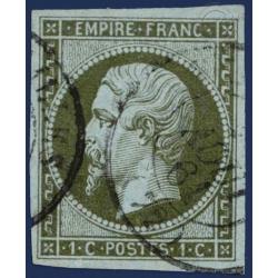 N°11 TYPE NAPOLÉON 1c OLIVE, TIMBRE OBLITÉRÉ, 1860