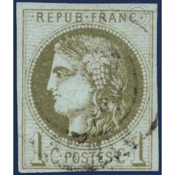 N°39C TYPE CÉRÈS OLIVE, TIMBRE OBLITÉRÉ ,1870
