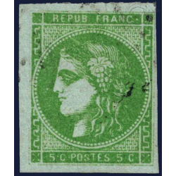 FRANCE N°42B TYPE CÉRÈS 5C VERT-JAUNE, TIMBRE OBLITÉRÉ, 1870