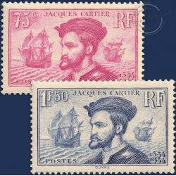 FRANCE N°296-297, JACQUES CARTIER, TIMBRES NEUFS ** DE 1934