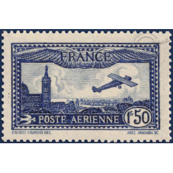 FRANCE PA N°6 AVION SURVOLANT MARSEILLE, TIMBRE LUXE, 1930