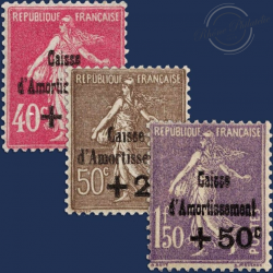FRANCE N°266 À 268 CAISSE D'AMORTISSEMENT NEUFS DE 1930