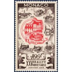 MONACO N°420 25e RALLYE AUTOMOBILE DE MONTE-CARLO , TIMBRE NEUF**LUXE,1955