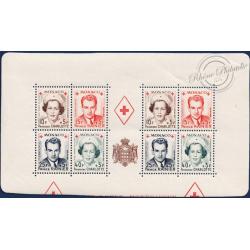 MONACO DEMI-BLOC N°3A CROIX-ROUGE MONÉGASQUE TIMBRES NEUFS, 1949