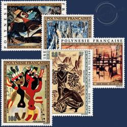 POLYNÉSIE POSTE AÉRIENNE N°65 À 69 SÉRIE TABLEAUX ARTISTES LOCAUX NEUF**LUXE
