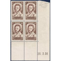 FRANCE COIN DATÉ N°310 ANDRÉ-MARIE AMPÈRE, TIMBRES NEUFS**1936