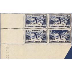 FRANCE COIN DATÉ N°334 CHAMPIONNATS DE SKI CHAMONIX, TIMBRES NEUFS**-1937