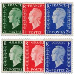 FRANCE N°701A A 701F TYPE MARIANNE DE DULAC SIGNÉS CALVES, TIMBRES NEUFS**1942