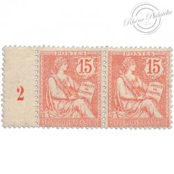 FRANCE N°125 TYPE MOUCHON RETOUCHÉ, PAIRE DE TIMBRES NEUF**1902