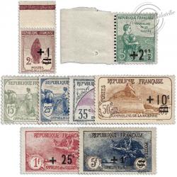 FRANCE N°162 A 169 SÉRIE SURCHARGÉE ORPHELINS DE GUERRE ,TIMBRES NEUFS**1922