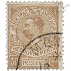 MONACO N°10 TYPE PRINCE ALBERT 1ER, TIMBRE TAXE OBLITÉRÉ-1910